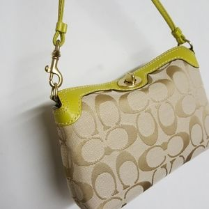 Coach Mini Bag Excellent Lime Green Trim Logo